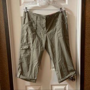 Ann Taylor Green/Tan Signature Crop Pants size 12P
